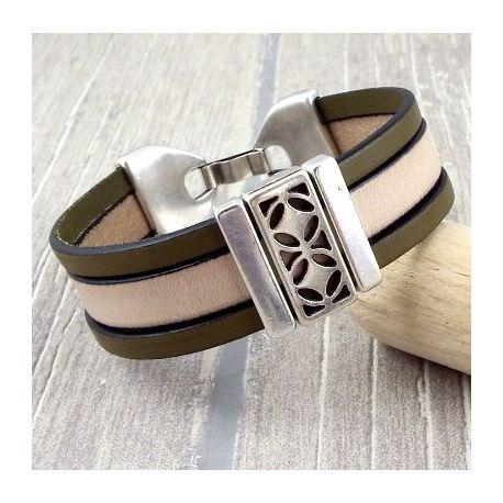 Kit bracelet cuir kaki et beige style design argent