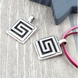 Pendentif carré labyrinthe argent ethnique 24mm