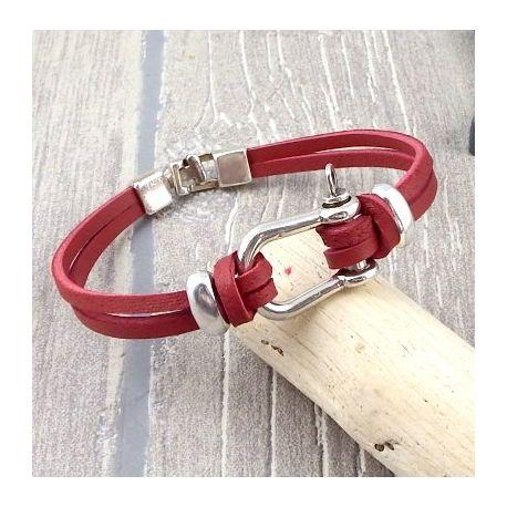 Kit tutoriel bracelet cuir brique manille