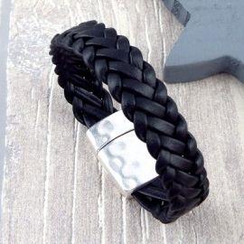 Bracelet cuir homme tresse noir 6 brins