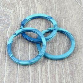 Anneau brise 30mm imprime turquoise et bleu
