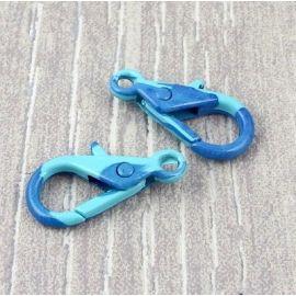 Fermoir mousqueton imprime bleu et turquoise 29mm