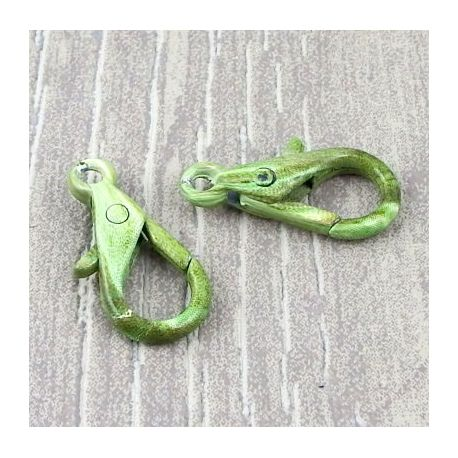 Fermoir mousqueton imprime vert et blanc 29mm
