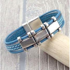 Kit bracelet cuir 2 coutures turquoise et argent