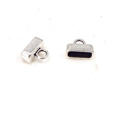 2 embouts fermoir metal argente pour cuir plat 10mm