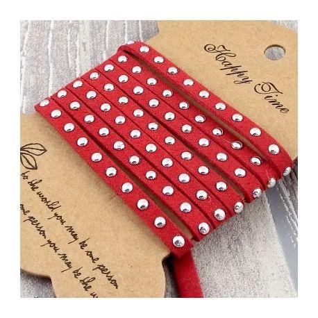cordon suedine rouge 5mm avec strass par 50cm
