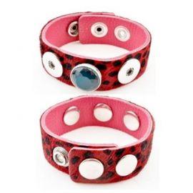 Support bracelet pression cuir poils rouge et noir