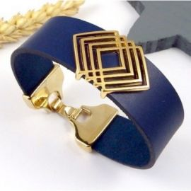 Bracelet manchette cuir bleu marine et or