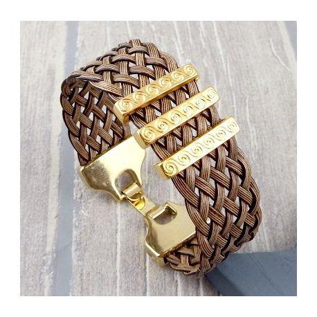 Bracelet manchette cuir tresse marron et or