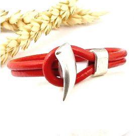 Embout fermoir corne plaque argent pour cuir rond 5mm
