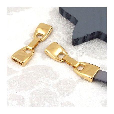 3 Fermoirs clip zamak plaque or pour cuir 10mm