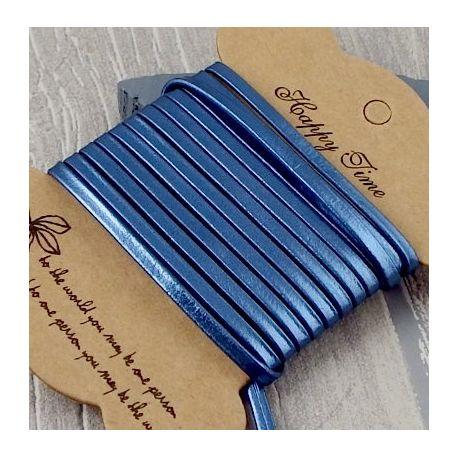 Cuir plat 3mm doublé bleu métal