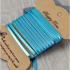 Cuir plat 3mm doublé turquoise métal