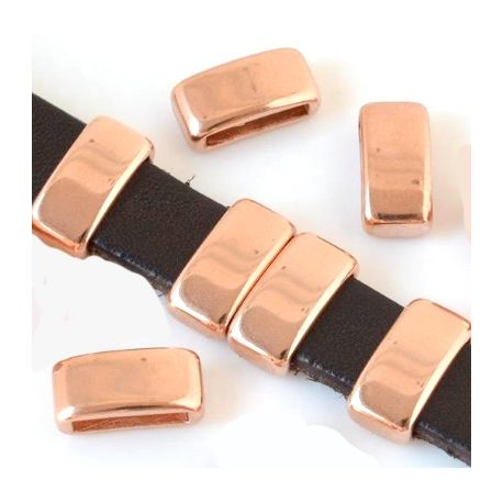 passe cuir rectangle flashe or rose 13x7x5mm pour cuir plat 10mm