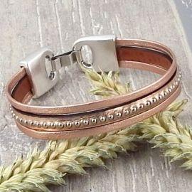 Kit bracelet cuir or rose metal billes
