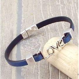 Kit bracelet cuir couleur et love argent