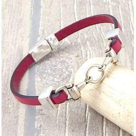 Kit bracelet cuir couleur et étrier argent