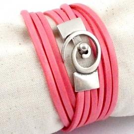 Kit tutoriel bracelet cuir saumon pastel fermoir spirale plaque argent