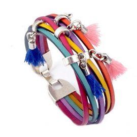 Kit bracelet cuir arc en ciel pompons