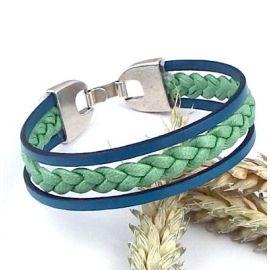 Kit bracelet cuir tresse vert et turquoise