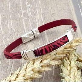 Kit bracelet cuir fuchsia zebre et argent