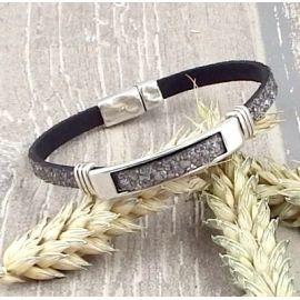 Kit bracelet cuir fantasia gris et argent