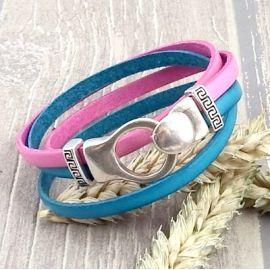 Kit bracelet cuir turquoise et rose boucle argent