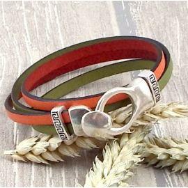 Kit bracelet cuir orange et anis boucle argent