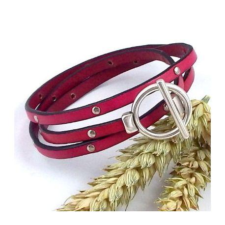 Kit bracelet cuir fuchsia clous et argent