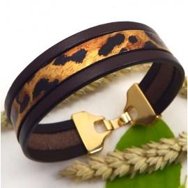 Kit tutoriel bracelet cuir 3 bandes marron et leopard fermoir doré