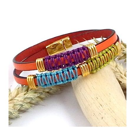 Kit tutoriel bracelet cuir orange boho style