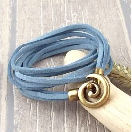 Kit bracelet cordon suedine noire bleu jean fermoir spirale bronze