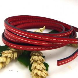 cuir plat rouge 5mm avec couture