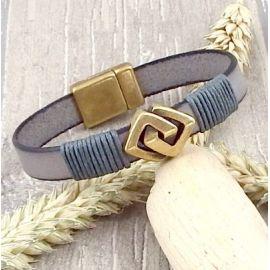 Kit bracelet cuir homme gris et bronze