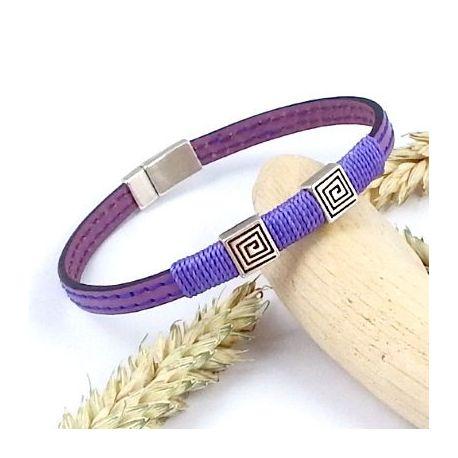 Kit bracelet cuir violet mauve argent boho