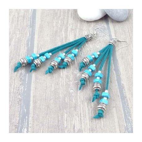 Kit boucles d oreille en suedine turquoise avec perles argent tutoriel offert