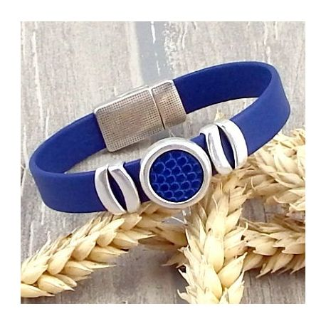 Kit tutoriel bracelet cuir bleu gitane cabochon lezard bleu vif et argent