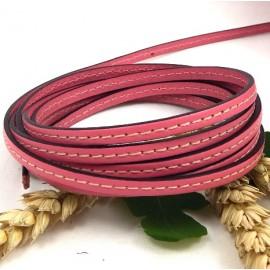 Cuir plat rose 5mm avec couture
