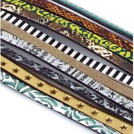 5 cordons cuir imprime de 17 a 20cm