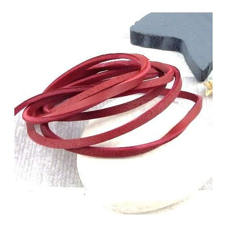 Cuir carre nautic 3MM rouge