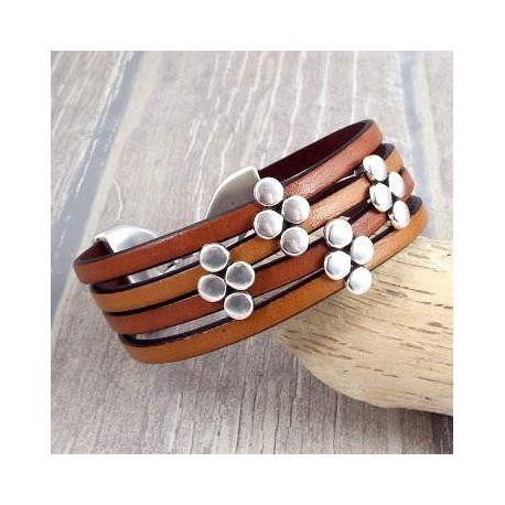 Kit bracelet cuir manchette camel marron et argent