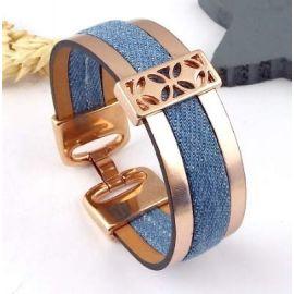 Kit tutoriel bracelet cuir or rose et jean