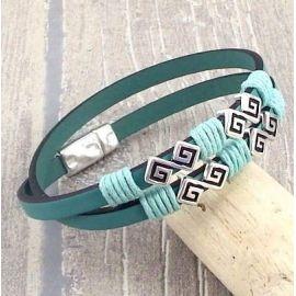 Kit bracelet cuir ethnique chic vert océan fermoir argent