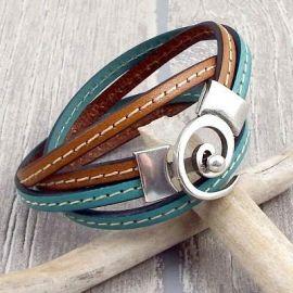 Kit bracelet cuir camel et ocean fermoir spirale argent