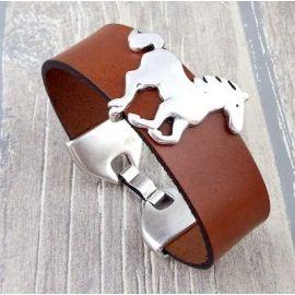 Kit bracelet cuir camel et cheval argent manchette