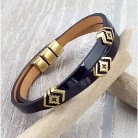 Kit bracelet cuir verni noir boho bronze
