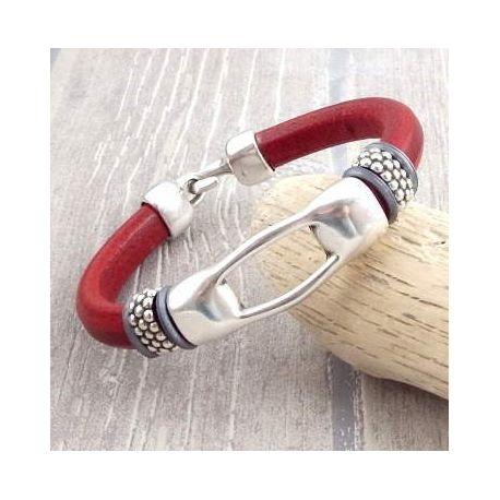Kit bracelet cuir regaliz rouge design ethnique argent