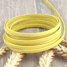 Cuir plat 5mm jaune pastel