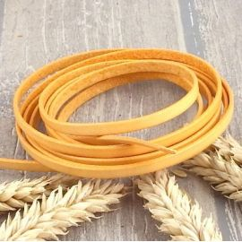 Cuir plat 5mm orange pastel