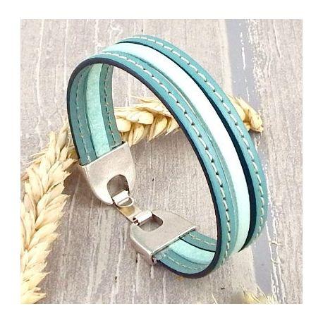 Kit bracelet cuir turquoise vert coutures